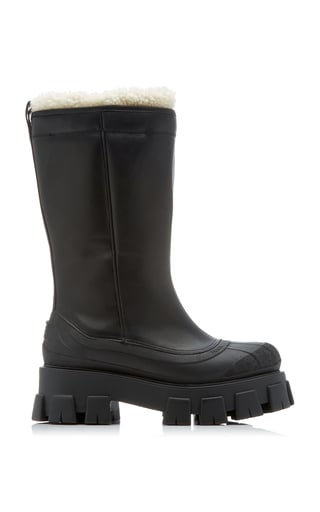 Prada Lug Sole Shearling-Trimmed Leather Boots
