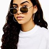 Katy Gold and Brown Heptagon Sunglasses