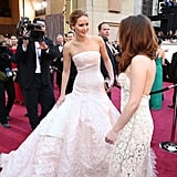 Kristen Stewart and Jennifer Lawrence crossed paths on the carpet.