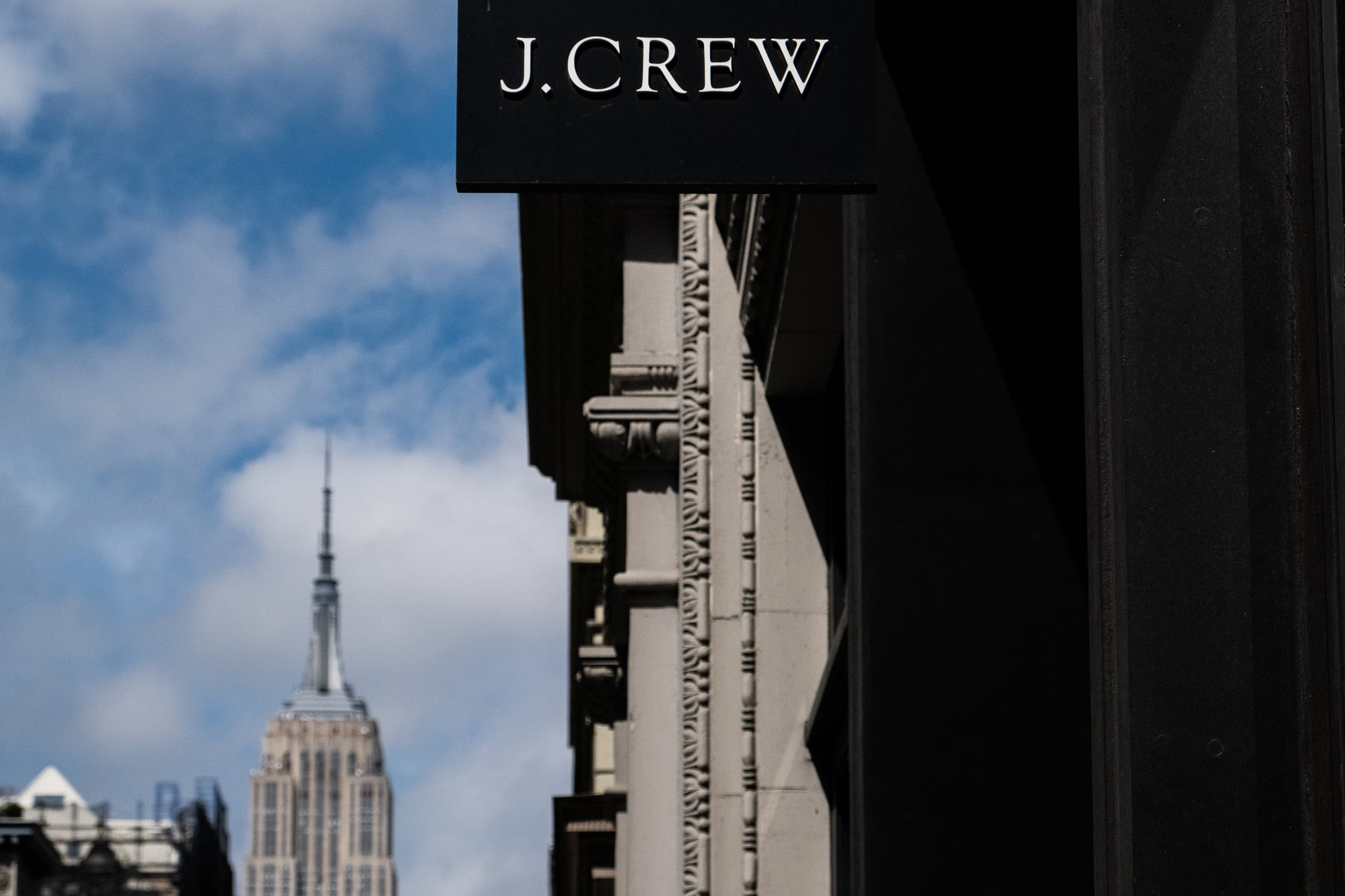NEW YORK, NY - MAY 01: J. Crew signage  is seen on 5th Avenue on May 1, 2020 in New York City. Clothing apparel company J. Crew is preparing to file for bankruptcy protection. (Photo by Jeenah Moon/Getty Images)