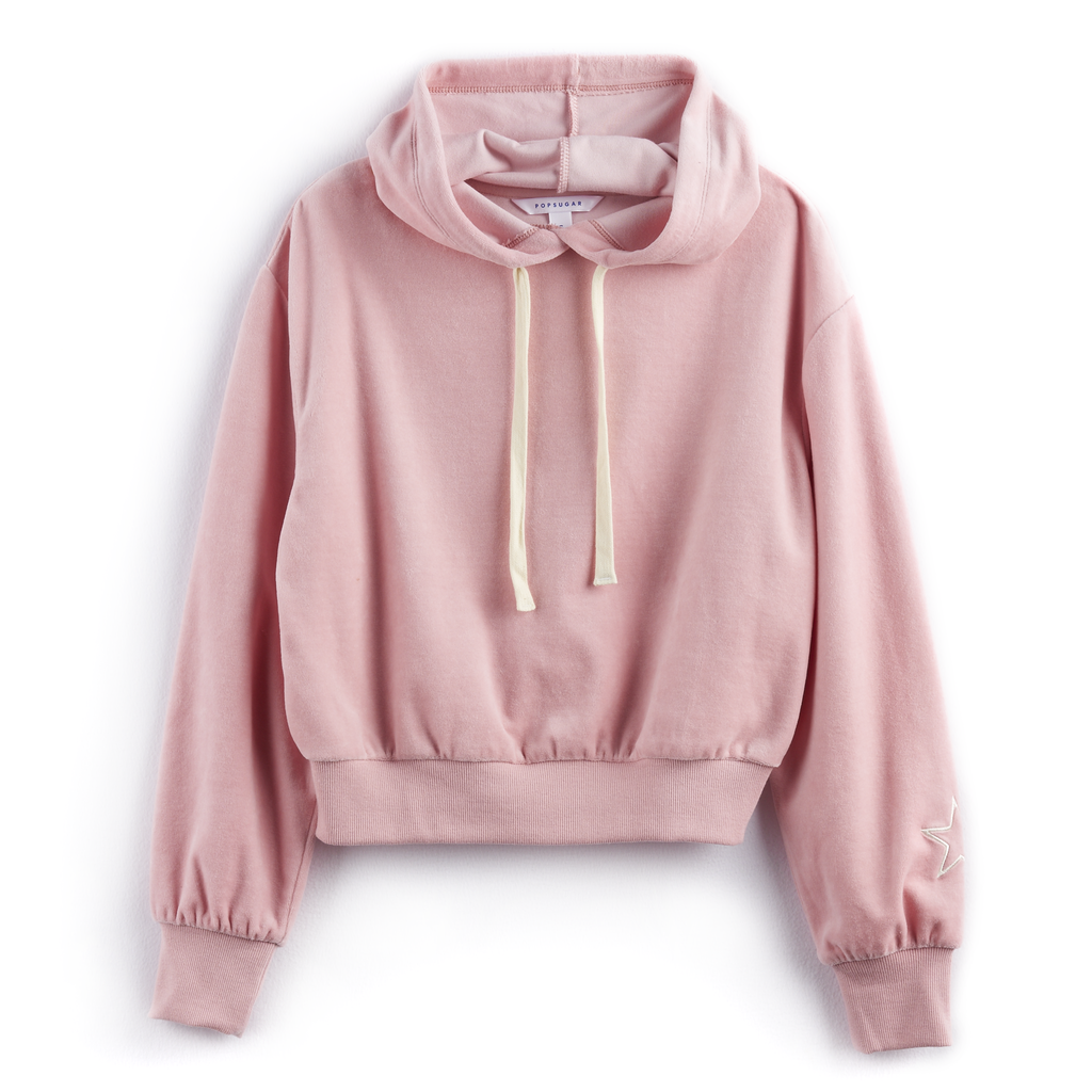 Star Velour Hoodie in Bridal Rose