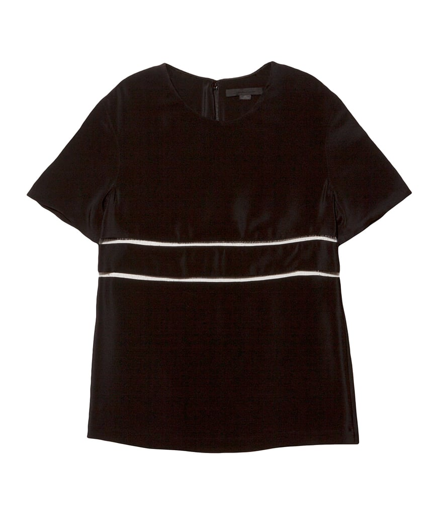 There's no reason to play fair when it comes to color pairings. If you're a lifelong lover of black, try just a touch of ivory, as does Alexander Wang's silk tee ($425).