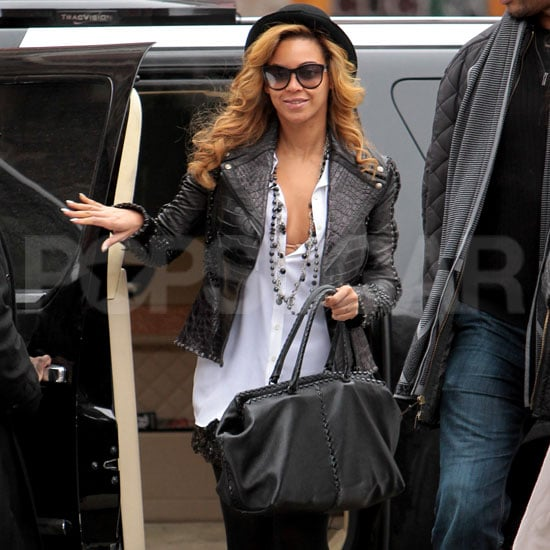 """Beyoncé  Knowles stepped out in NYC today on her way into a business meeting. She topped off her stylish outfit with a leather jacket and hat after rocking a seriously studded ensemble around town last month. Beyoncé  might be laying low while she takes care of work on the East Coast, but she's still managing to make headlines. Gwyneth Paltrow gave the singer lots of love in the latest issue of Harper's Bazaar UK, saying, """"She has so much mastery over what she does. It's mind-blowing."""" Beyoncé's equally talented husband, Jay-Z, recently showcased his own abilities with the release of his and Kanye West's new single, H.A.M, though we'll have to wait until March for the full album."""
