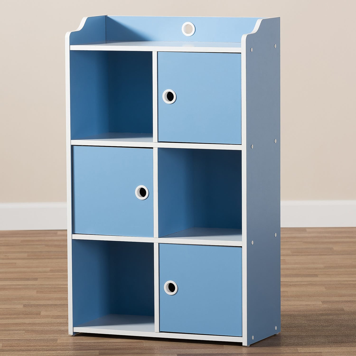 Mathilde Contemporary Blue White 3 Door Bookcase Out
