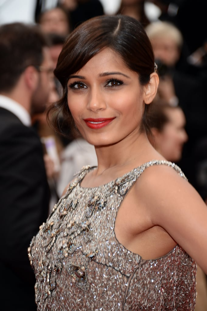 At the premiere of Jeune & Jolie, Freida Pinto sported a classically beautiful makeup palette. She played up her eyes by swiping on Infallible Le Rouge in Refined Ruby ($10).
