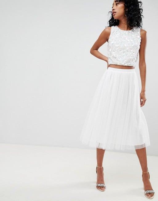 Lace & Beads Tulle Midi Skirt