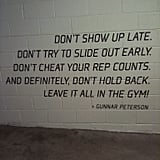 Painted in parking garage at celeb trainer Gunnar Peterson's gym.