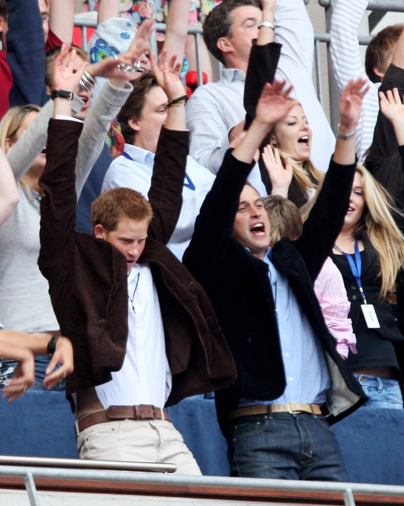 Will and Harry stood up to do the wave during the July 2007 Concert For Diana at London's Wembley Stadium, which fell on what would have been the late Princess Diana's 46th birthday.