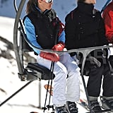 Pippa Middleton took a break from skiing on the lift in France.