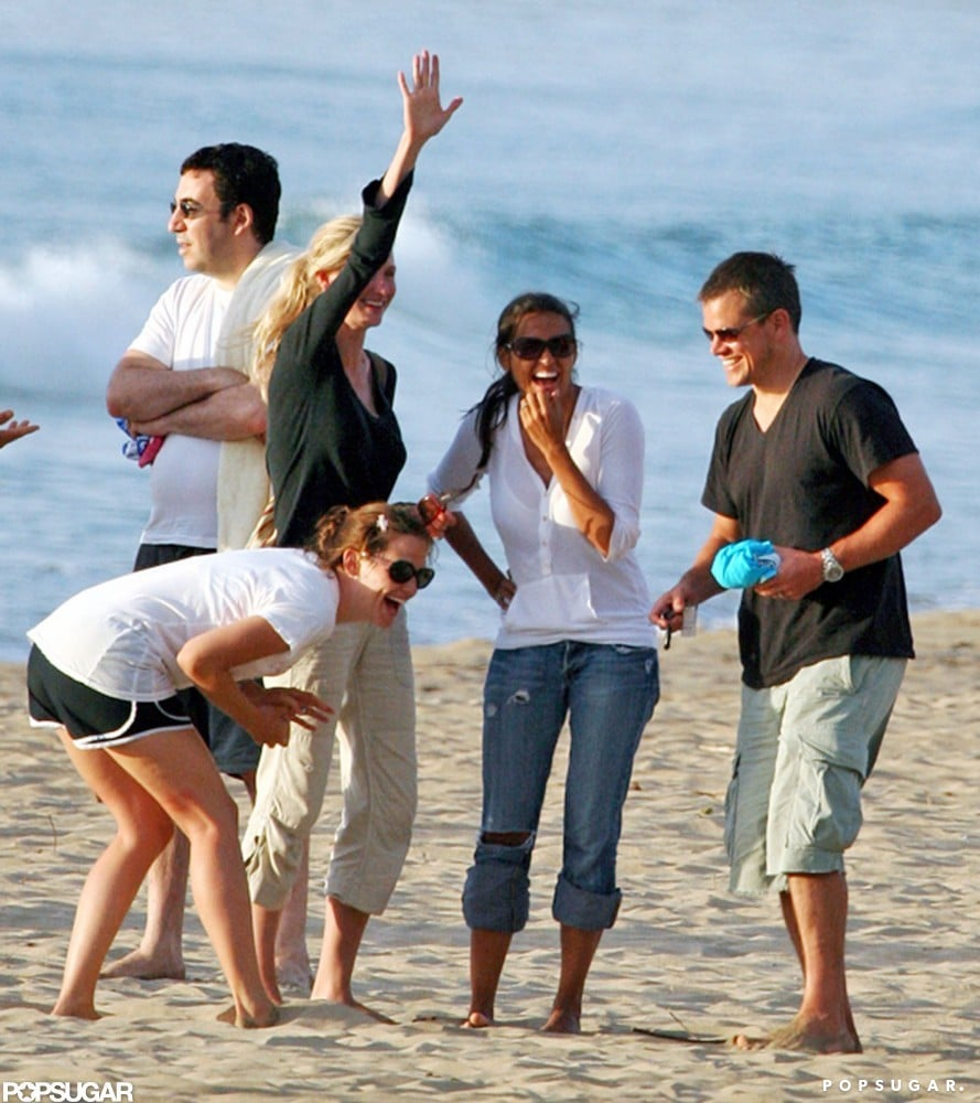 Matt Damon and wife Luciana hit the beach with Jennifer Garner during a group trip to Hawaii in July 2007.