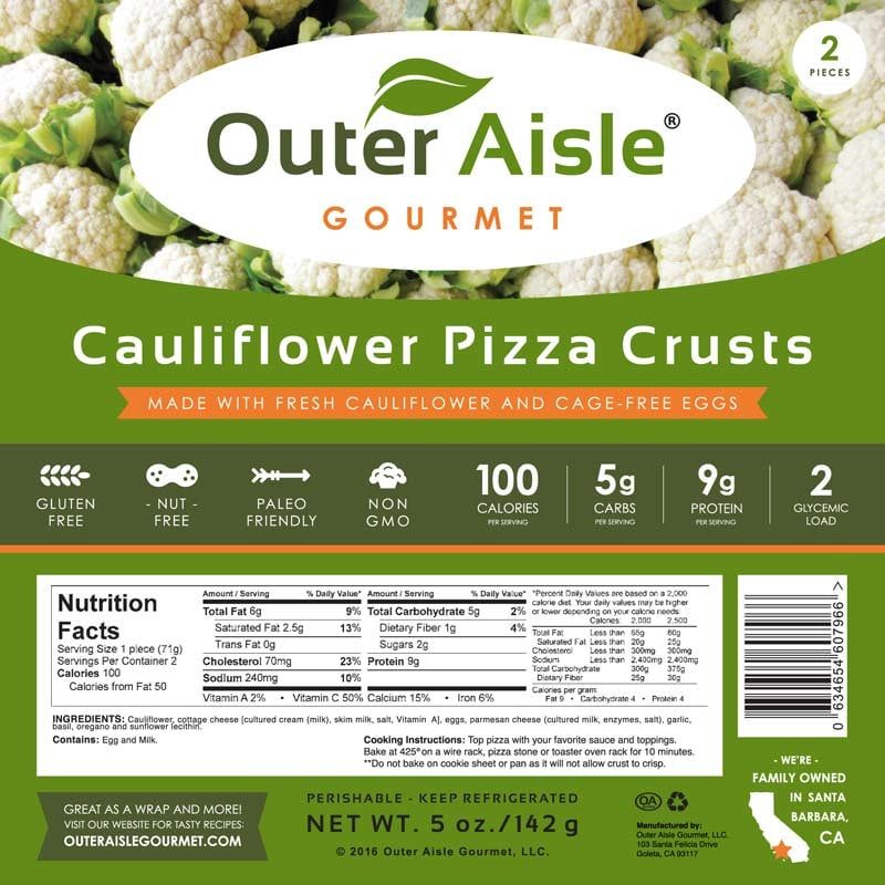 Outer Aisle Gourmet Cauliflower Pizza Crusts