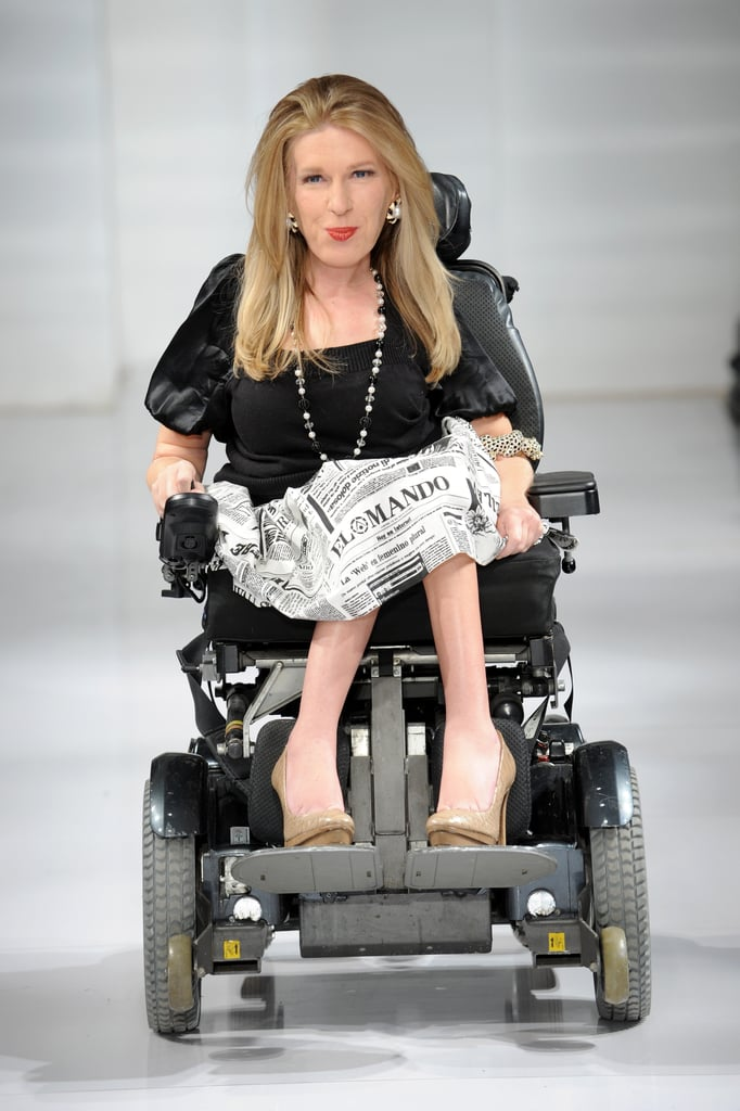 """PS: So instead, you included a woman in a wheelchair.  CH: One of my good friends is a doctor in a wheelchair. I didn't realize at the time that it was the first-ever wheelchair on a runway. The story went viral, and Karen saw it online. She emailed me right away: """"I was so thrilled and moved that a designer welcomed someone with a disability on the runway. You don't see that often, and I hope it really opens doors for people with disabilities. Beauty comes in all shapes and sizes — there's absolutely no right or wrong."""" PS: You don't get emails like that every day! How did you respond? CH: She was gorgeous. I loved her bohemian style. I asked her to walk in my show, and she told me her $100,000 prosthetics were stolen off her porch. I worked with this prosthetics company to create a new set of arms for her. And, we finally met in person last week for the first time.  We talk all the time. It's so funny because I felt like I knew her, like old friends. It was definitely very surreal. And seeing firsthand how she experienced struggles was hard to take."""