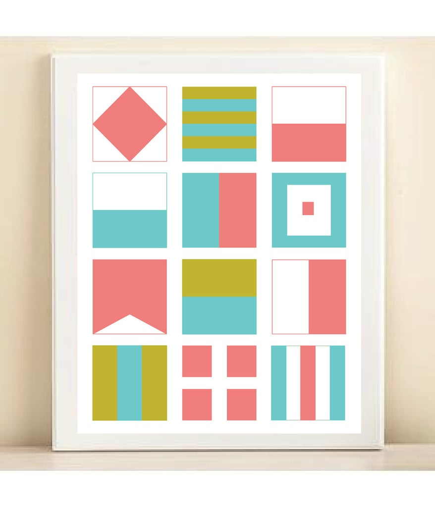 Pink, Green, and Blue Nautical Flags Print ($15)