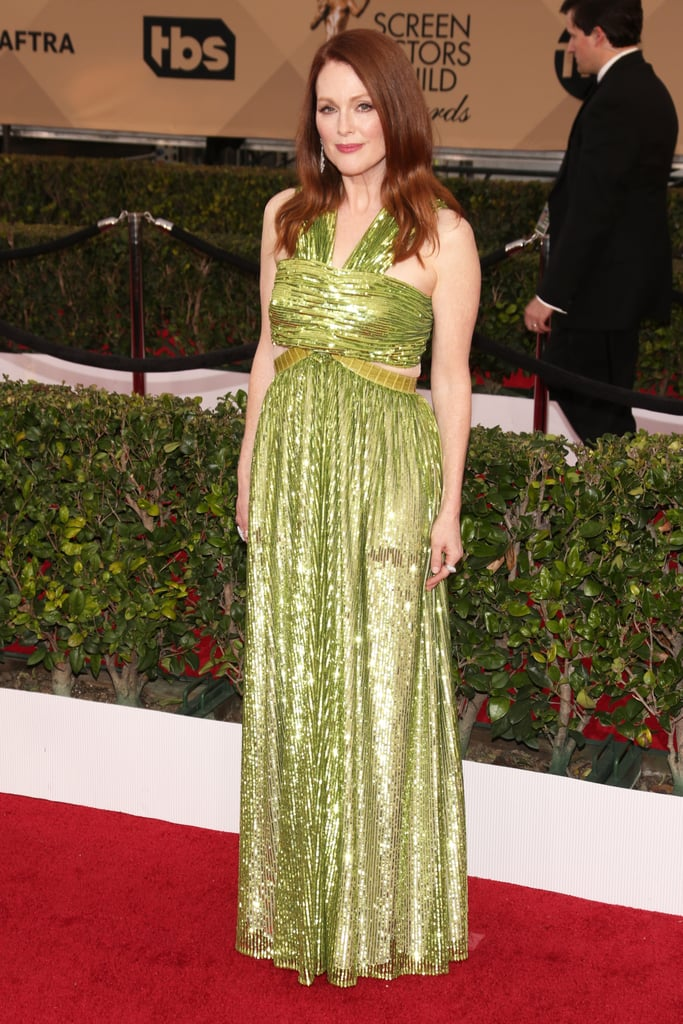 Julianne Moore in a glowing green Givenchy gown. | Colorful Dress ...