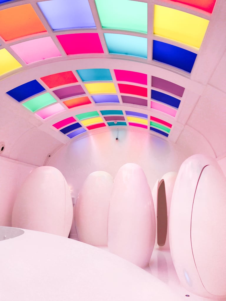 If you've ever come across a certain pod-filled, rainbow-roofed lavatory on your feed and thought it could only possibly exist on the set of A Wrinkle of Time, you are mistaken. The bathroom in question actually belongs to London restaurant Sketch, a favourite hotspot for celebrities, bloggers, and selfie-aficionados alike.  Whether you're sipping on an Old Fashioned in their pocket-sized East Bar or seated in the equally-iconic Gallery decorated by a commissioned artist every few years (at this moment, it's perfectly pink thanks to David Shrigley) — the bathrooms are a must-visit. Not only will you be transported to an otherworldly affair, you may even find yourself in the company of nests of geese in a Winter wonderland or floral paradise. The bathroom is often dressed up with a seasonal touch, luring in the likes of Sophie Turner, Bella Hadid, and Kylie Jenner.