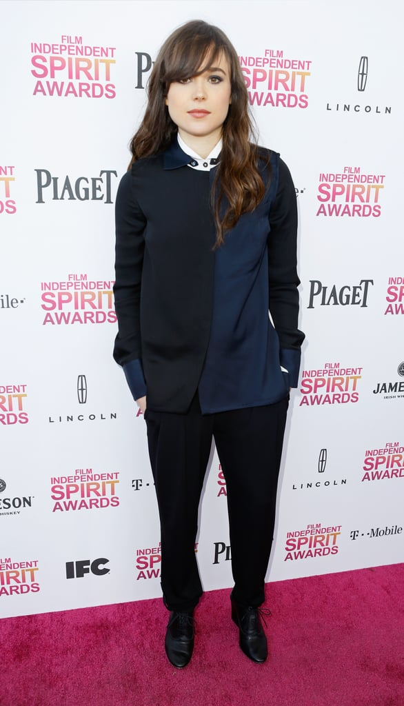 Ellen Page struck a darker note in this laid-back navy-and-black outfit — the only contrast came courtesy of a white blouse peeking through.