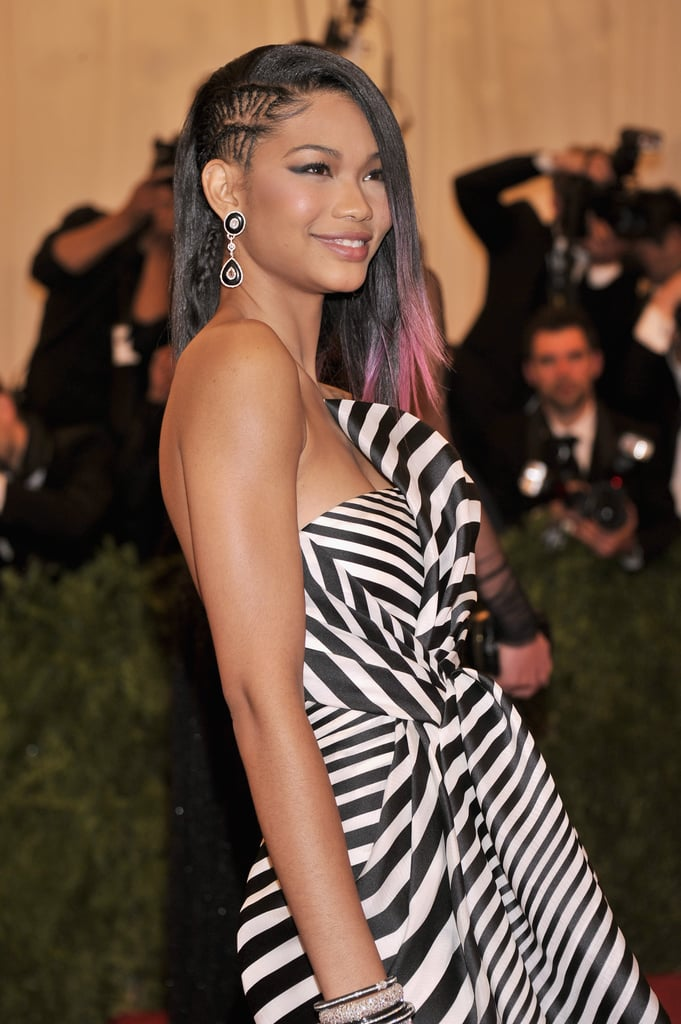Going punk with a faux undercut style, Chanel Iman braided the side of her hair at the Met Gala.