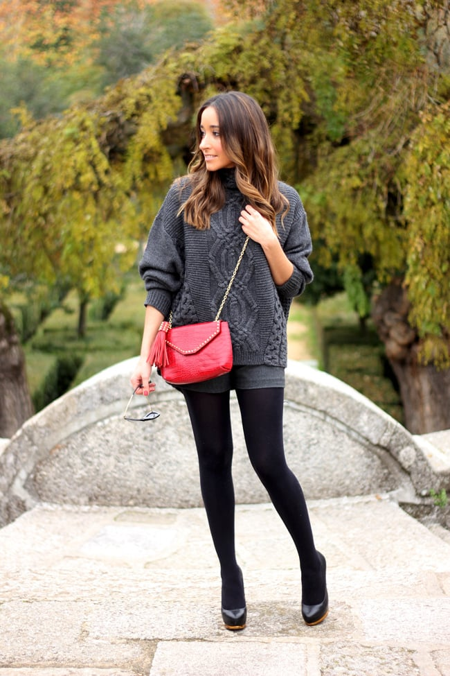 Just a pop of red spruces up a gray and black palette. Source: Lookbook.nu