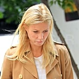 Gwyneth Paltrow looked super blond on set.