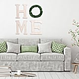 """""""Home Letters With Wreath"""" Wood Wall Art"""