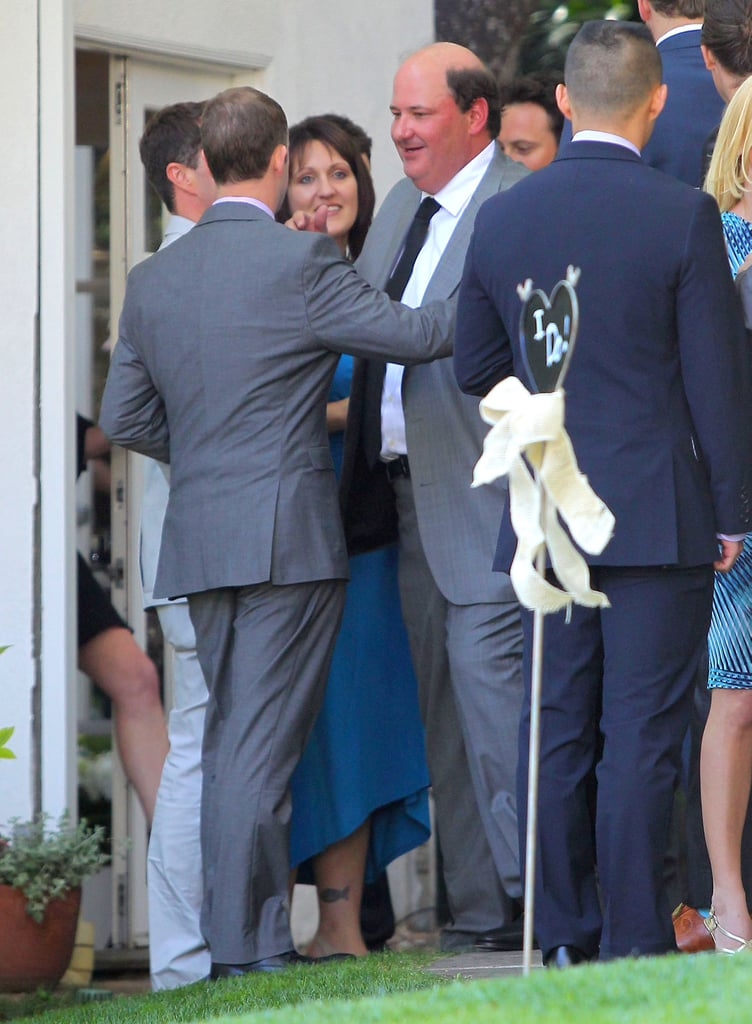 brian baumgartner greeted a guest at his wedding the
