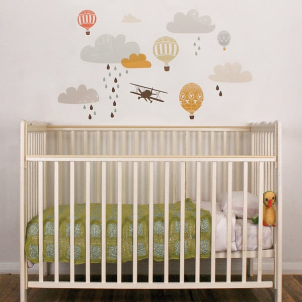 Up, up, and away! Soar to the sky with Love Mae's fabric wall decals ($70).