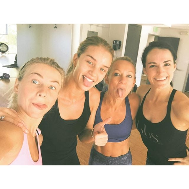 Julianne Hough got in a sweaty fun workout at her trainer's Body By Simone studio.