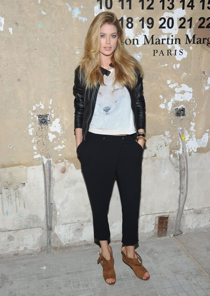 Doutzen Kroes perfected the cool-girl uniform in a leather jacket, t-shirt, and Margiela booties.