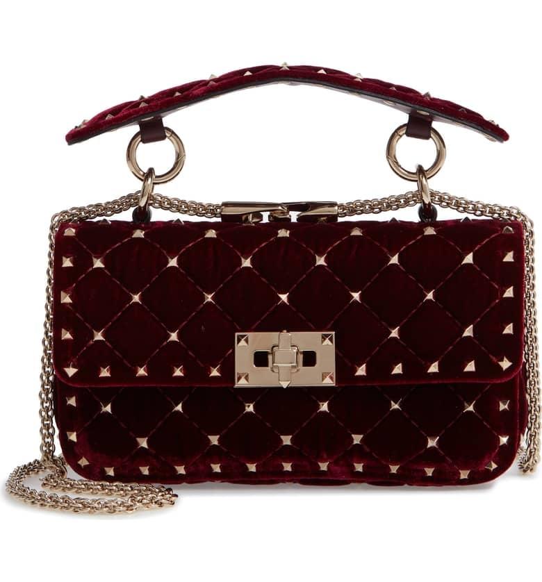 478a7381ba69 Valentino Garavani Rockstud Matelassé Velvet Small Shoulder Bag ...