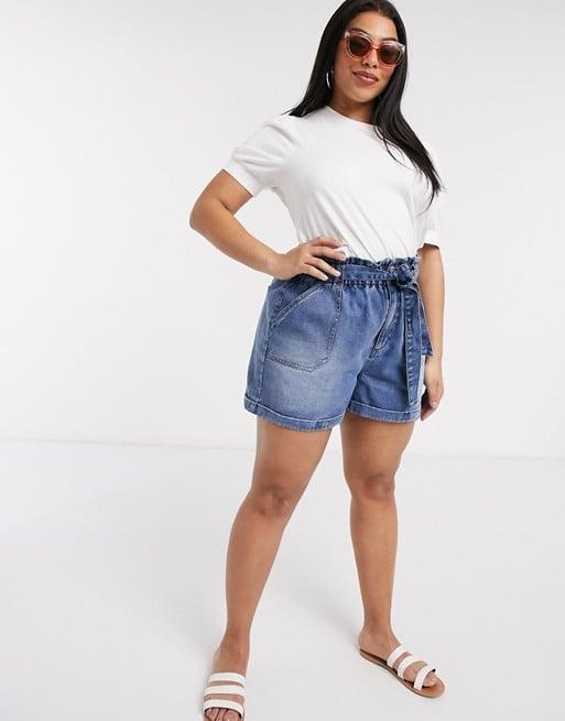Urban Bliss Plus tie waist denim shorts in blue
