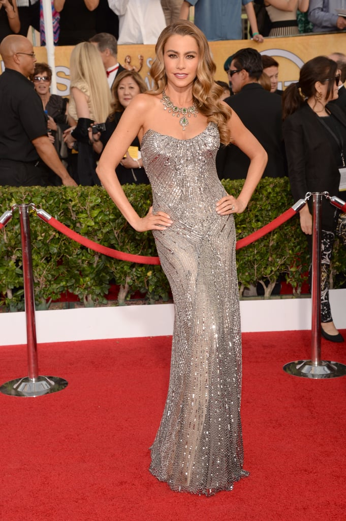 Sofia Vergara made another jaw-dropping red carpet entrance when she arrived at the 2014 SAG Awards in LA on Saturday night in a stunning sparkly gown. The actress took over the stage tonight with the rest of her Modern Family castmates when they won for outstanding performance by an ensemble in a comedy series. Sofia and the cast have all been busy at work on the set of their show this past week. Sofia and Julie filmed a scene in LA earlier this week, which oddly featured Julie wearing a wedding gown and running shoes. We guess we'll have to wait to see what is going on with that!