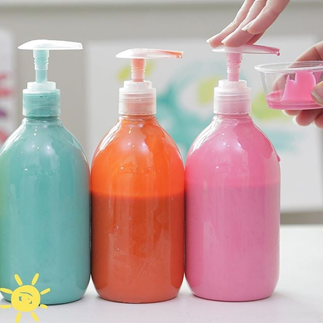 Store paint in containers with pumps, or old ketchup bottles.