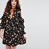 Asos Floral Skater Dress with Frill Cold Shoulder
