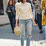 Style a Knitted Sweater With Distressed Jeans, Platform Heels, and a Basket