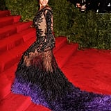 Beyoncé Knowles made her way up the red carpet stairs at the Met Gala in NYC.