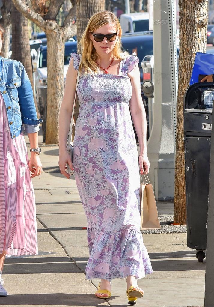 Kirsten Dunst in Purple Maxi Dress