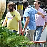 Ed Helms as Stu and Zach Galifianakis as Alan on the set of The Hangover Part III.