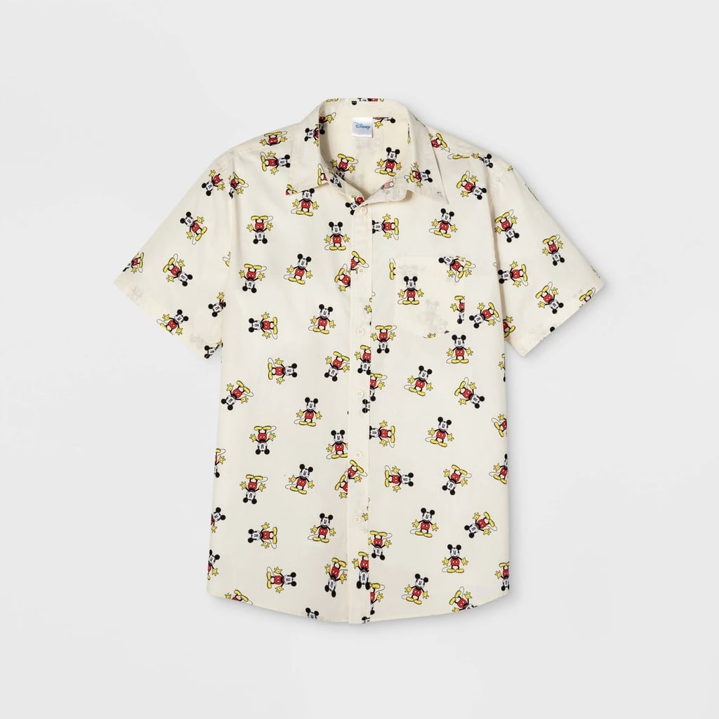 Men's Mickey Mouse Short Sleeve Button-Down Shirt