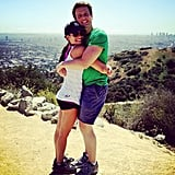 She and her BFF Jonathan Groff shared a hug while on a hike together in LA in April 2013. Source: Instagram user msleamichele