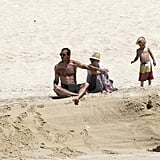 Shirtless Gavin Rossdale, bikini-clad Gwen Stefani, Kingston Rossdale, and Zuma Rossdale at the beach in Cabo.