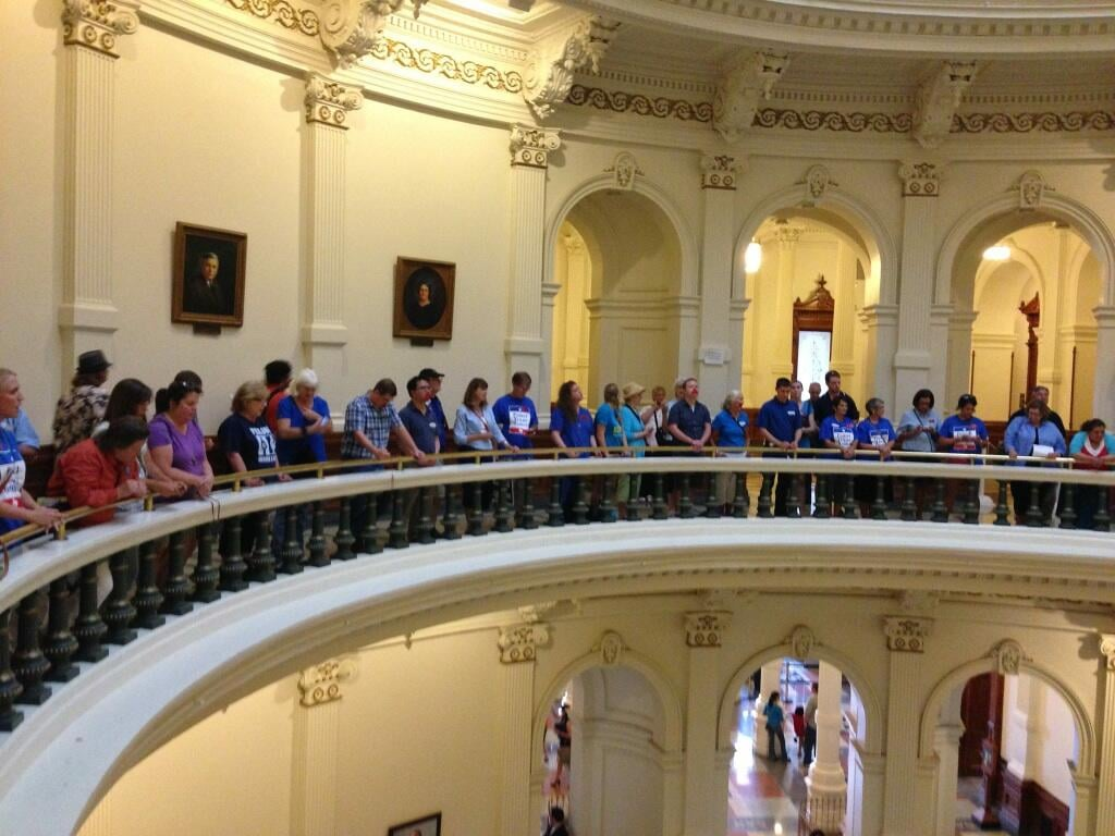 Pro-life activists gathered at the Texas Capitol to voice their support of the bill. Source: Twitter user HaysGOP225