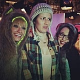 Writer Molly McAleer posed with 2 Broke Girls' stars. Source: Instagram user itsmolls