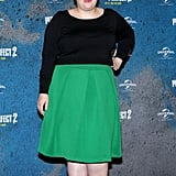 Even though she matched with costar Elizabeth Banks, Rebel stood out on the red carpet at the Pitch Perfect 2 photocall, wearing this bright green midi skirt.