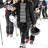 Pictures of Zoe Saldana and Keith Britton Skiing in Aspen