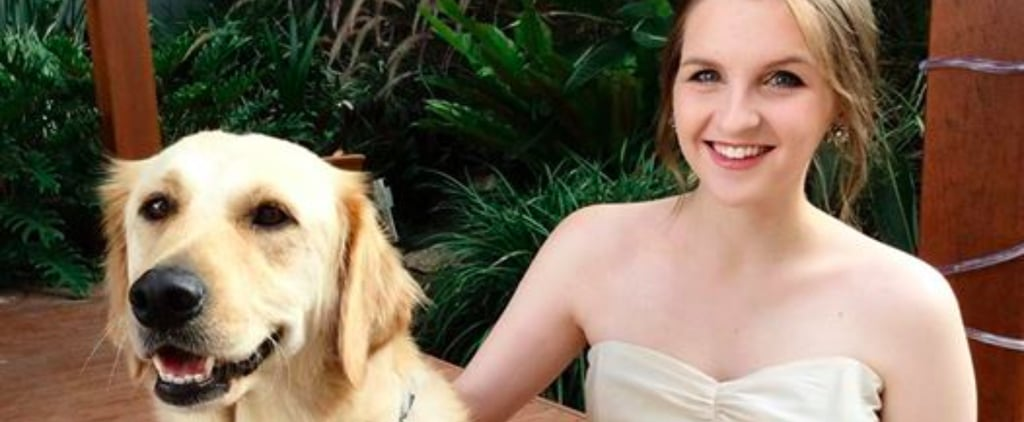 Girl And Her Dog Wear Matching Dresses For Prom