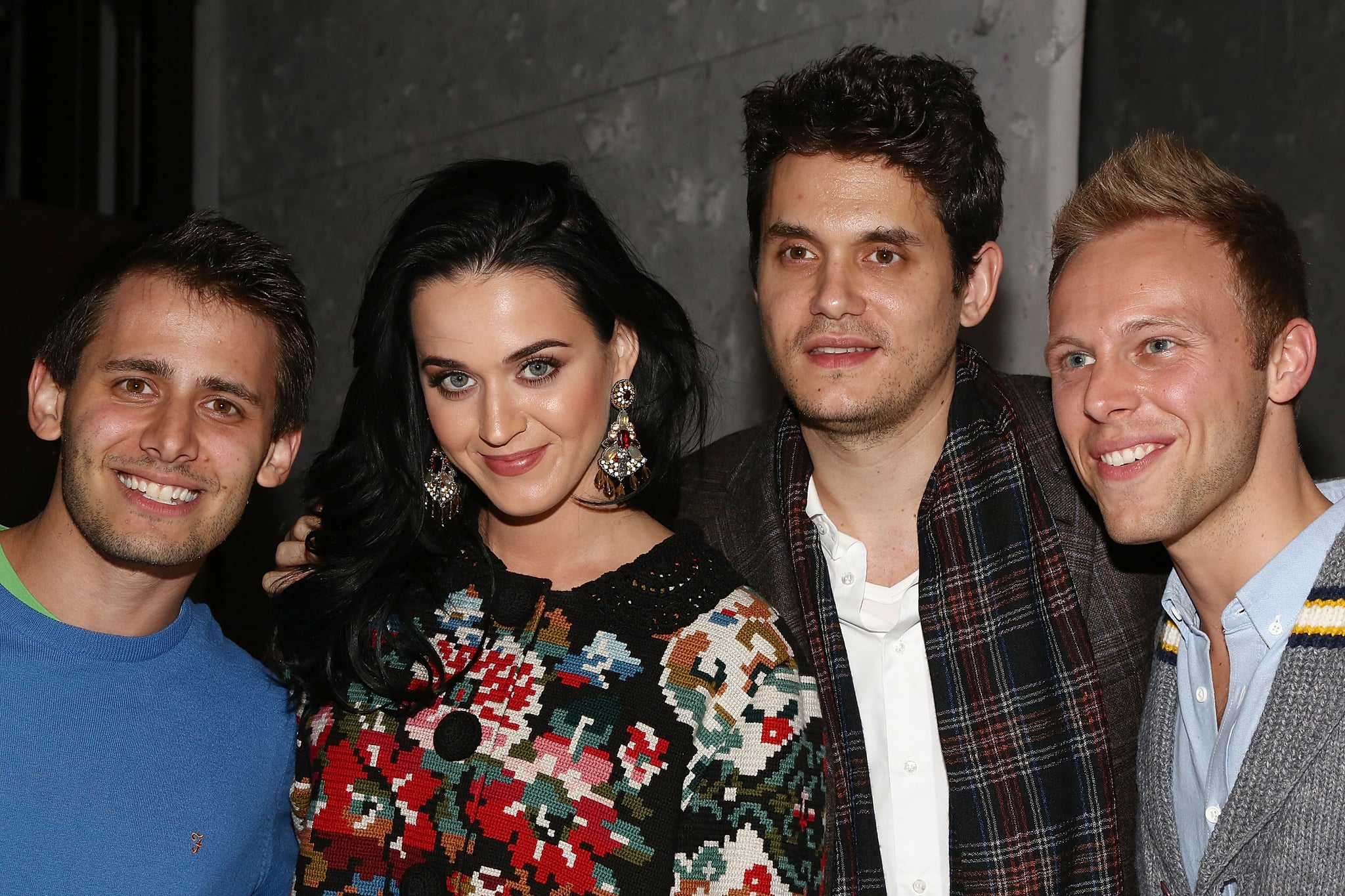 Katy Perry and John Mayer posed with Benj Pasek and Justin Paul.