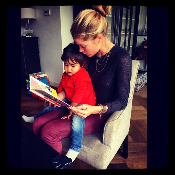 Doutzen Kroes read to her son, Phyllon, in September. Source: Instagram user sunneryjames