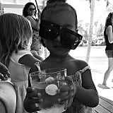 North wore goofy sunglasses during a Summer 2015 getaway to St. Barts.
