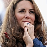 Kate wore her hair in curls for the rowing on Day 4.