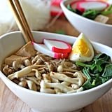 Miso Soup With Vermicelli, Mushrooms, Tofu, and Hard-Boiled Egg